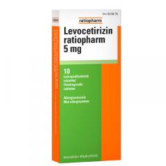 LEVOCETIRIZIN RATIOPHARM 5 mg tabl, kalvopääll 10 fol